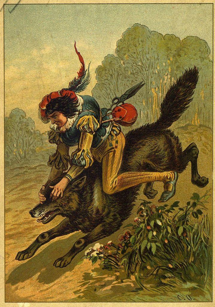 Волк выпрыгнул из ямы на поверхность земли, мгновенно вскарабкался ему на спину...